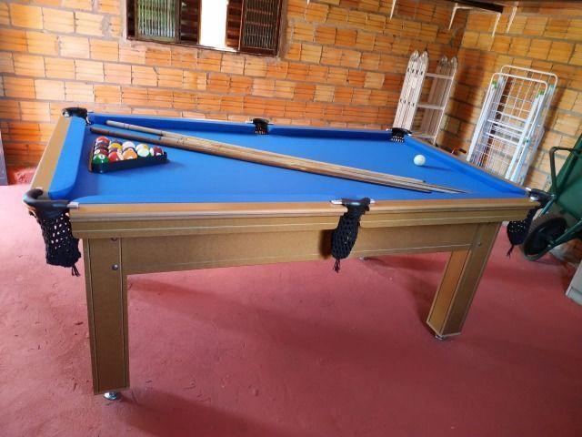 Mesa Tentação e Jantar Cor Cerejeira Tecido Azul Mod. HSLM1263 - Foto 3