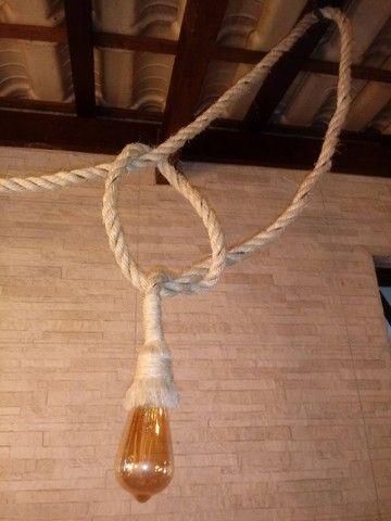 Luminária rústica em cordas - Foto 4