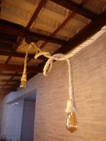 Luminária rústica em cordas - Foto 3