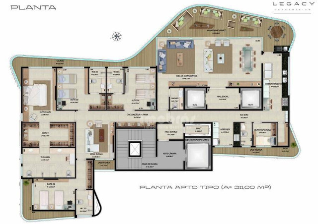 Apartamento à venda no Legacy Condominium com 4 suítes, com 311,00m² por R$ 3.795.000,00 n - Foto 3