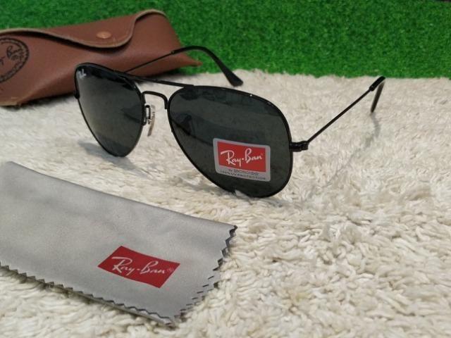 19407533c0822 Óculos Ray Ban Aviador todo preto - Bijouterias