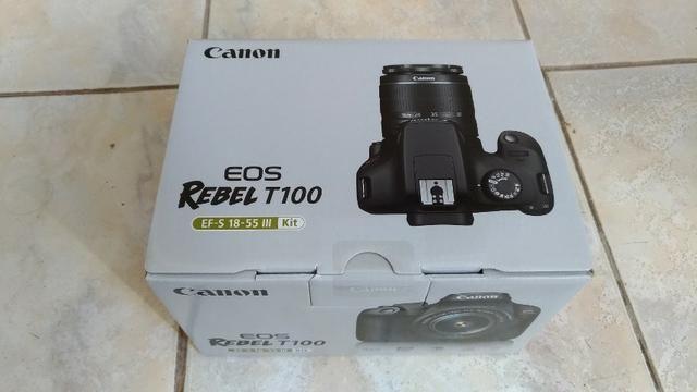 Câmera Canon Profissional Kit EOS Rebel T100 EF-S 18-55 III Lacrada