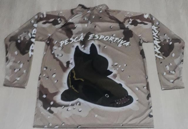 Camisa Para Pescaria Esportiva Proteção Uv45 Plus Size Mar