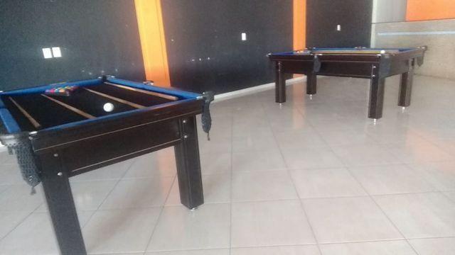 Mesa Tentação de Bilhar Cor Tabaco Tecido Preto e Borda Azul Mod. UDYB0178 - Foto 3