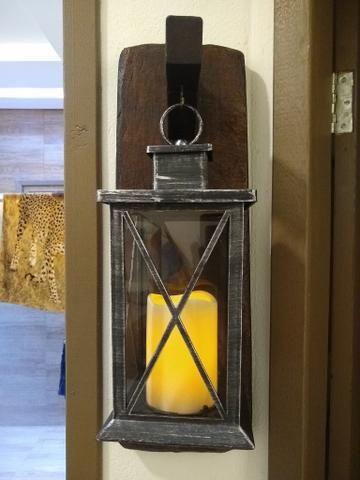 Luminária com suporte em madeira rústico - Foto 4