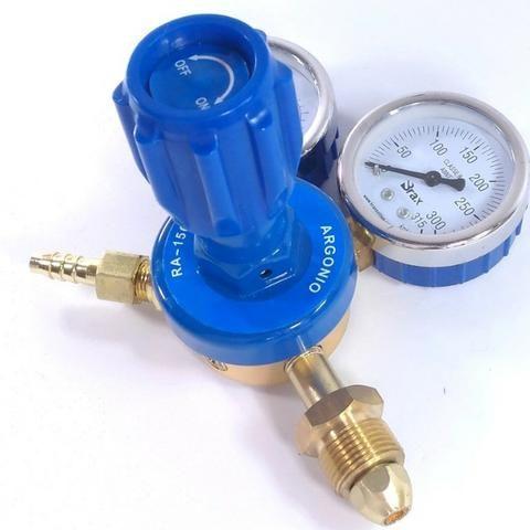 Regulador de Pressão para Cilindro de Gás Argônio ou Mistura Relógio/Manômetro - Foto 6