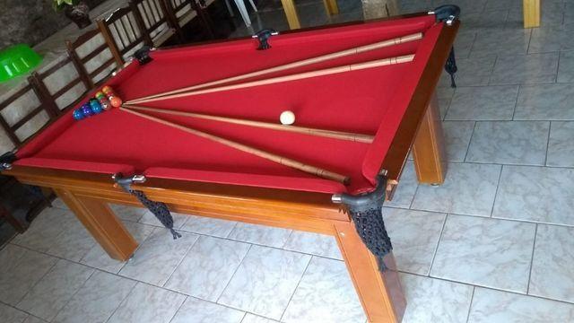 Mesa Tentação Pgto na Entrega Cor Imbuia Tecido Vermelho Mod. DVFM6552 - Foto 3