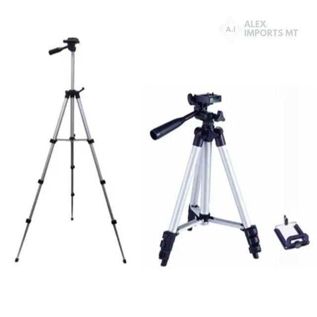 Tripé Universal Telescópico p Câmera E Celular Barato
