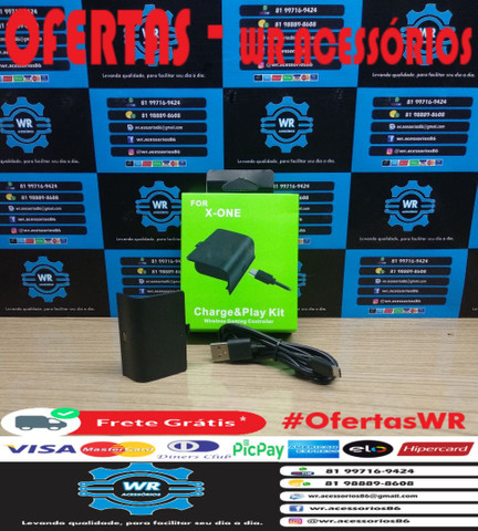 Kit Bateria + Cabo  Controle Xbox One - ENTREGA GRÁTIS - Foto 2