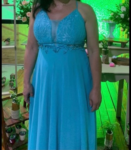 Vestido para festa (ciano/verde água/turquesa) - Foto 4