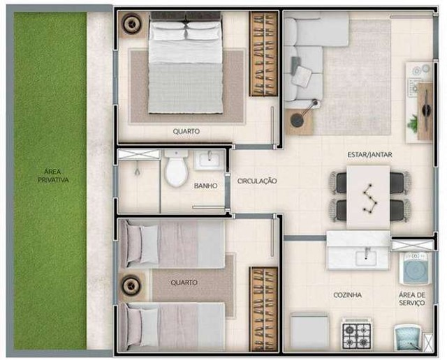 Residencial de Montalcino , 39 - 61m², 2 quartos - Monte Castelo, Campo Grande - MS - Foto 9