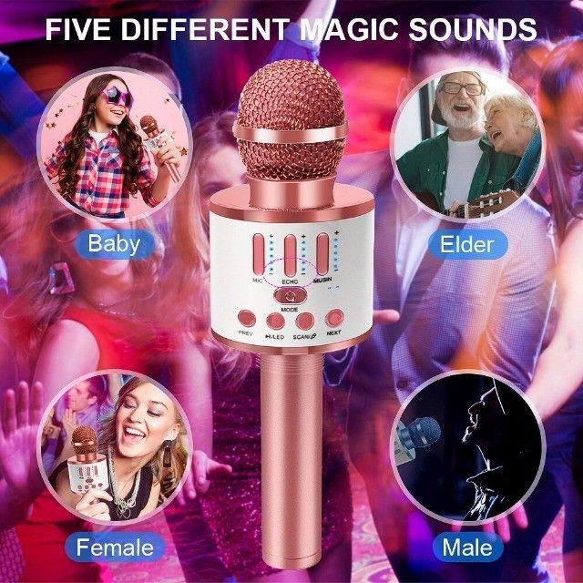 Microfone Bluetooth Karaoke Youtuber Gravador Com Som Ws-858