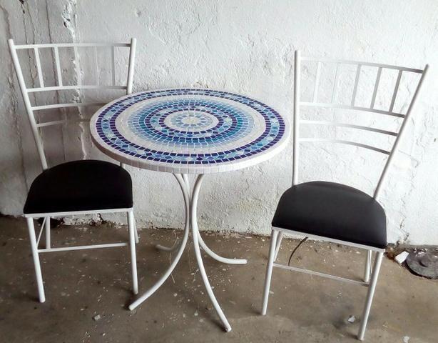 Conjunto mesa mosaico madeira com mosaico - Foto 4