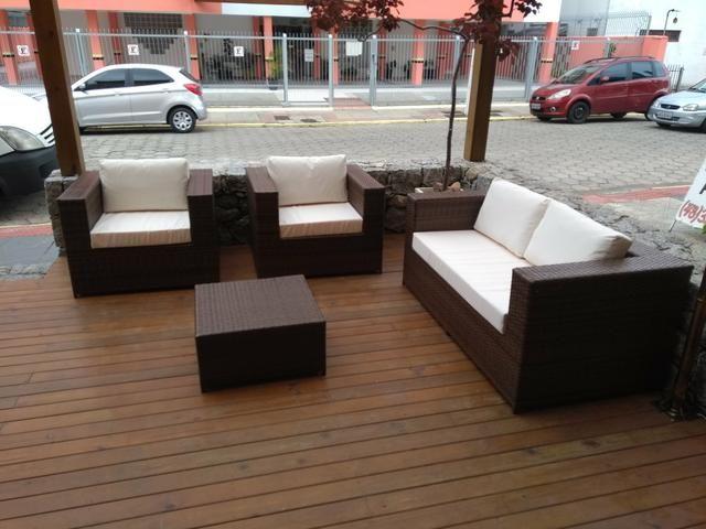 Conjunto de sofá quadrado em fibra sintética - Foto 2