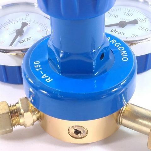 Regulador de Pressão para Cilindro de Gás Argônio ou Mistura Relógio/Manômetro - Foto 4