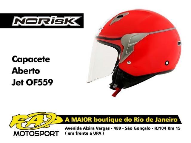 21618e583ec9a Capacete Moto Norisk Aberto OF559 Jet Linea Vermelho Branco - Peças ...