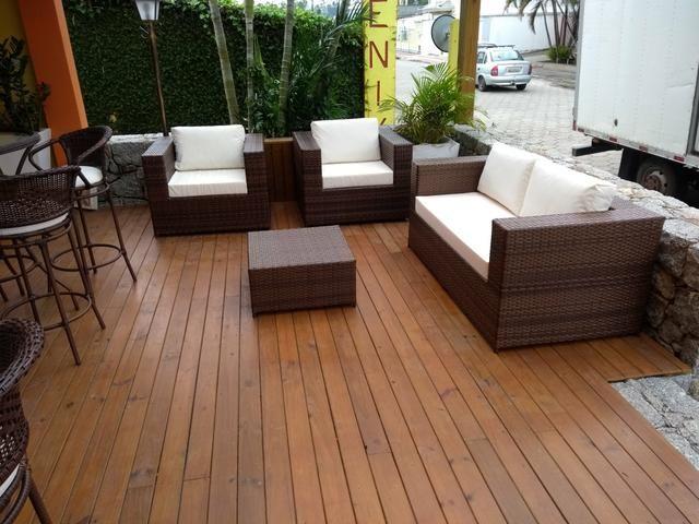 Conjunto de sofá quadrado em fibra sintética