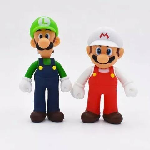 3 Bonecos Super Mario Bros Yoshi, Luigi, Mario Grandes 13cm - Foto 2
