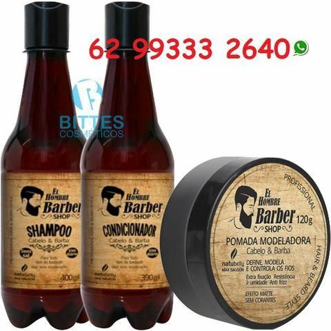 El Hombre Barba Cabelo e Bigode Shampoo Condicionador Pomada Modeladora Natubelly