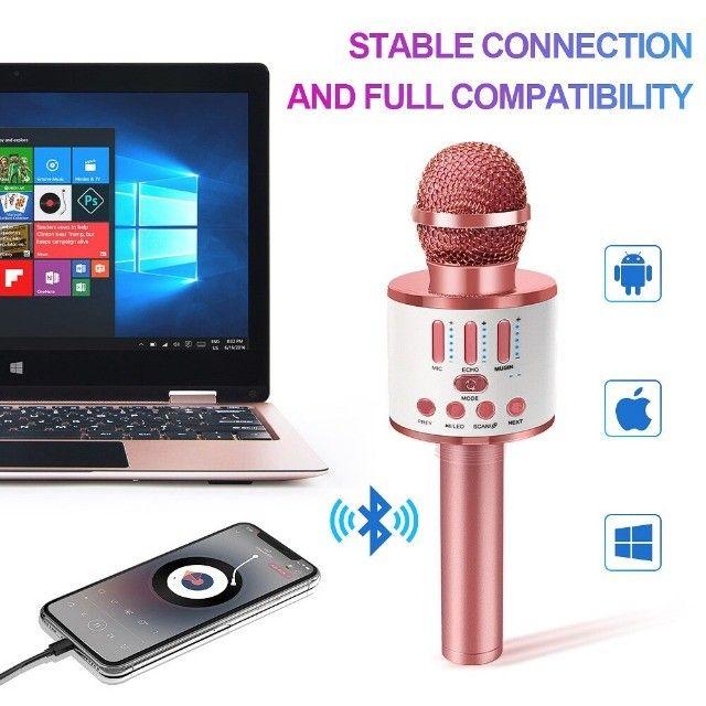 Microfone Bluetooth Karaoke Youtuber Gravador Com Som Ws-858 - Foto 2