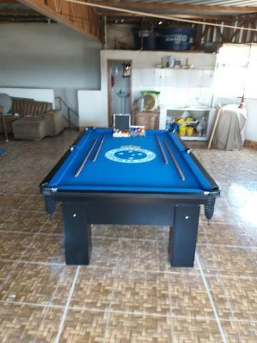 Mesa Charme | de Redes | Cor Preta | Tecido Azul | Logo Cruzeiro - Foto 3