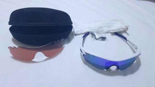 2d4b5ad72 Óculos Oakley Radarlock Edge Vented Polished White/Lentes Violet Iridium e  Clear OO9183-06