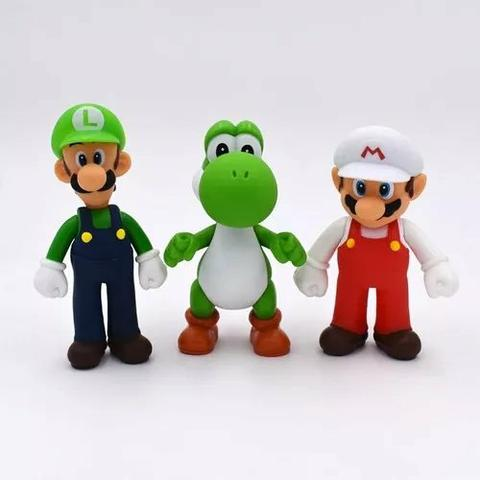 3 Bonecos Super Mario Bros Yoshi, Luigi, Mario Grandes 13cm - Foto 5