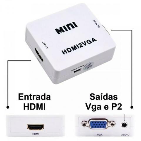 Mini Adaptador Hdmi Para Vga C/ Saída De Áudio Hdmi2 vga
