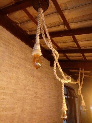 Luminária rústica em cordas - Foto 6