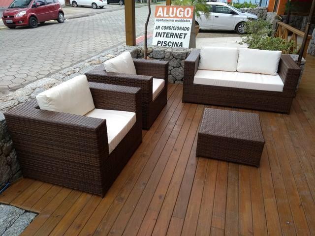 Conjunto de sofá quadrado em fibra sintética - Foto 3