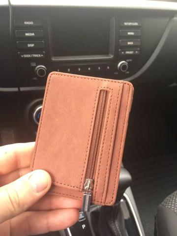 Carteira de couro slim pequena Etya Magic clip com zíper porta moedas - Foto 4