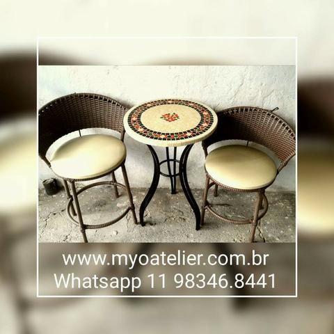 Conjunto mesa mosaico madeira com mosaico - Foto 2