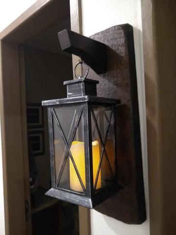 Luminária com suporte em madeira rústico - Foto 5