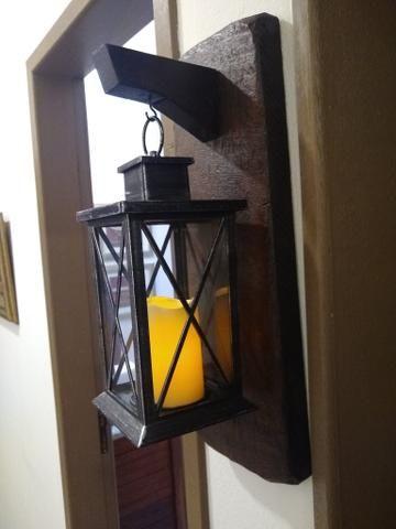 Luminária com suporte em madeira rústico - Foto 3