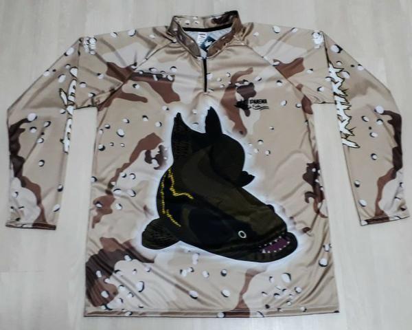 Camisa Para Pescaria Esportiva Proteção Uv45 Plus Size Mar - Foto 3