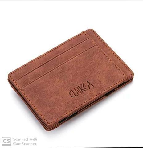 Carteira de couro slim pequena Etya Magic clip com zíper porta moedas
