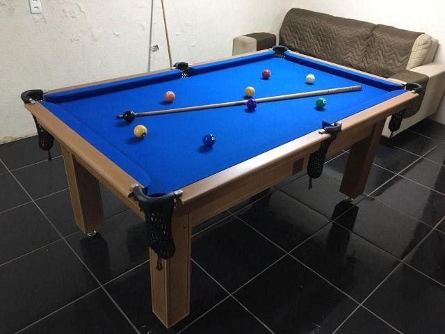 Mesa Tentação e Jantar Cor Cerejeira Tecido Azul Mod. HSLM1263 - Foto 2