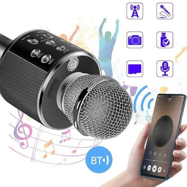 Microfone Bluetooth Karaoke Youtuber Gravador Com Som Ws-858 - Foto 4
