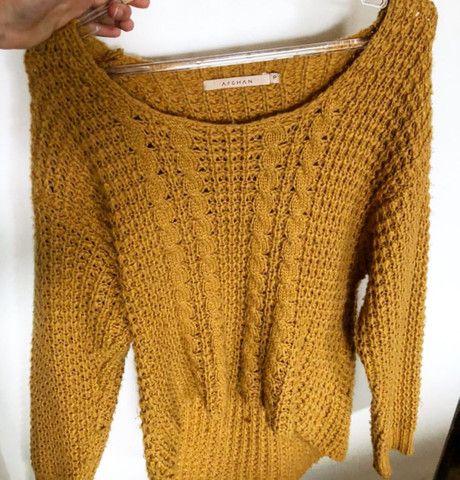 Blusa de tricô Afghan tamanho P