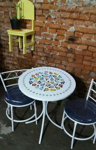 Conjunto mesa mosaico madeira com mosaico - Foto 3