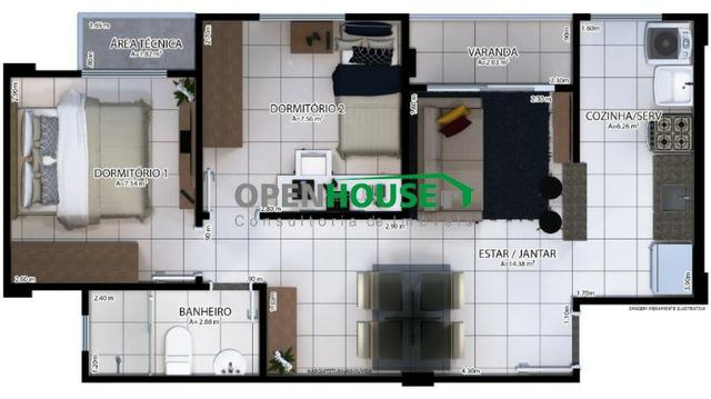 Lindo Apartamento 2/4, sala/jantar, cozinha, banheiro e vaga de garagem - Foto 7
