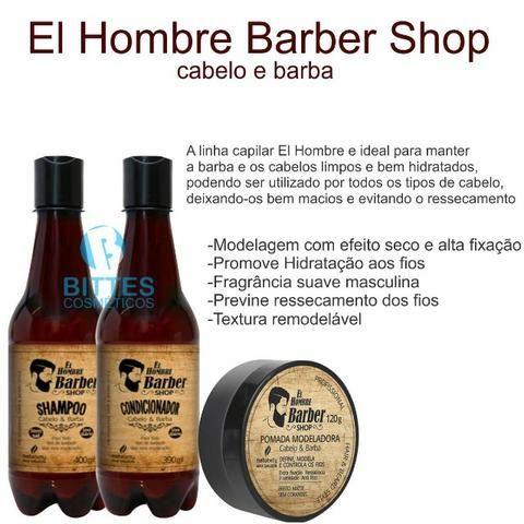 El Hombre Barba Cabelo e Bigode Shampoo Condicionador Pomada Modeladora Natubelly - Foto 3