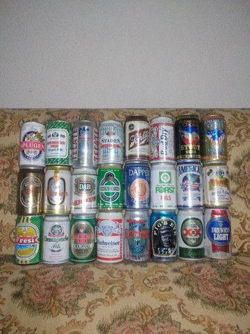 Lote 70 Latas de Cerveja Antigas Importadas Antigas - Foto 2