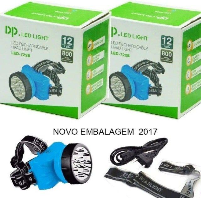 Lanterna De Cabeça 12 Leds Recarregável Dp 781b / Caça Pesca