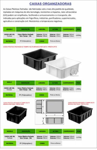 Caixas plástica organizadora 15lts na cor preta - Foto 2