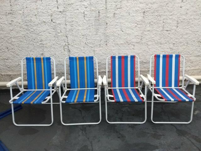 a1d3ccbbb95bb Jogo com 4 cadeiras dr praia que nunca foram à praia. Perfeitas! Barbada