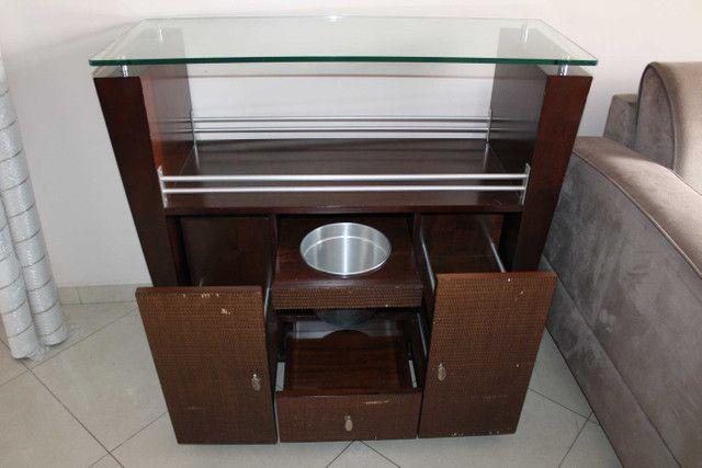 Bar / Buffet c/ 3 Gavetas / 1 Balde para gelo  e Rodas / em Vidro / MDP Marrom 92 cm x  1 - Foto 2