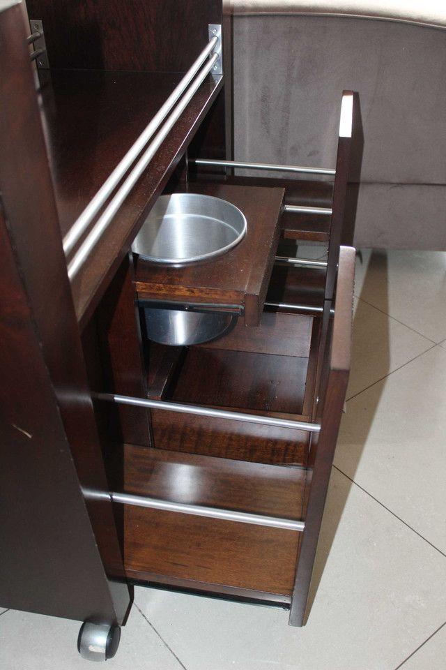 Bar / Buffet c/ 3 Gavetas / 1 Balde para gelo  e Rodas / em Vidro / MDP Marrom 92 cm x  1 - Foto 3