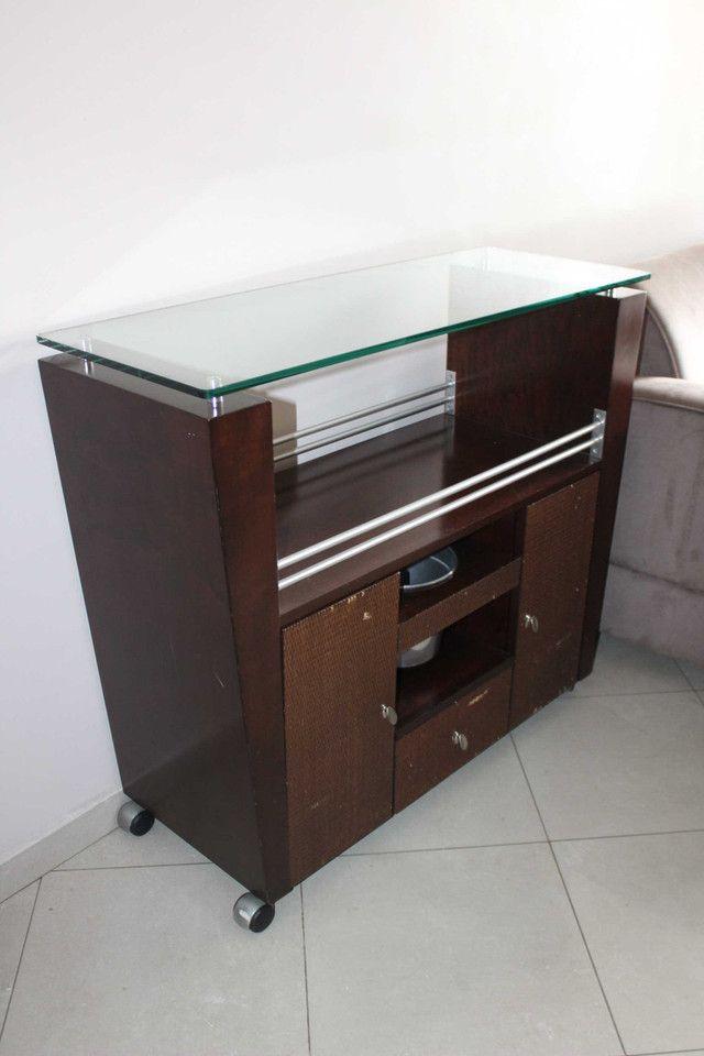 Bar / Buffet c/ 3 Gavetas / 1 Balde para gelo  e Rodas / em Vidro / MDP Marrom 92 cm x  1 - Foto 7