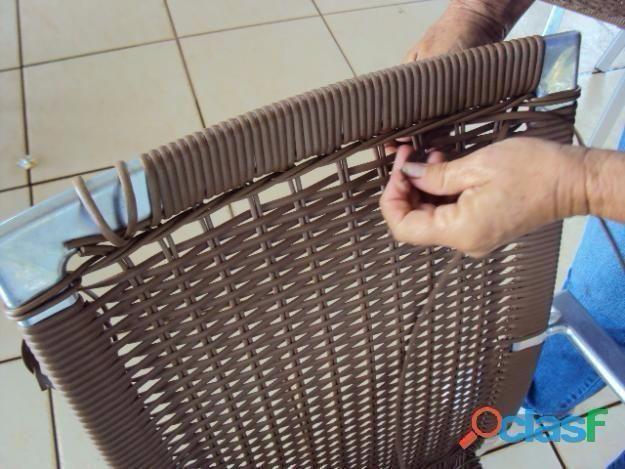 Reformas de cadeiras, espreguiçadeiras, em fibra sintética, tapeçaria, ombrelones